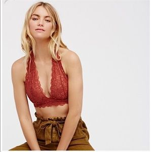 Free People Intimately Orange Lace Halter Bralette